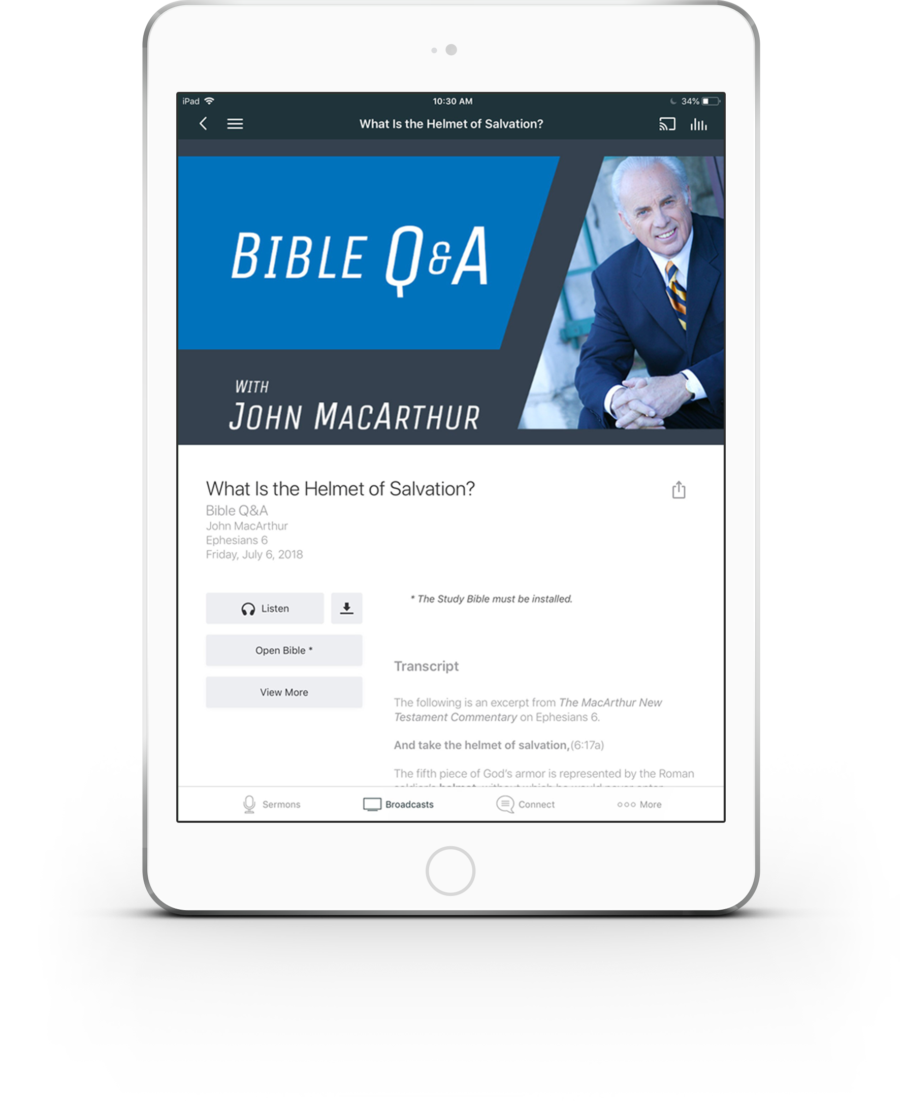 Bible Q&A with John MacArthur screen on a tablet