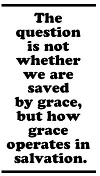 The question is not whether we're saved by grace, but how grace operates in salvation.