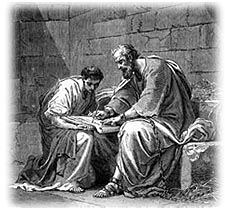Paul writing his epistles