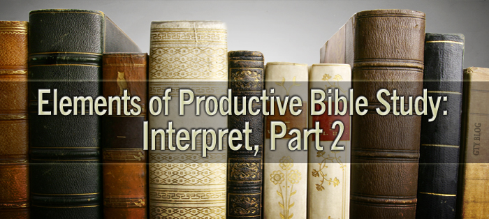 Elements of Productive Bible Study: Interpret, Part 2