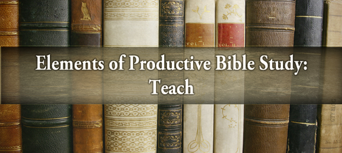 Previous post: Elements of Productive Bible Study: Teach
