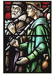 Stained-glass depiction of two of the disciples