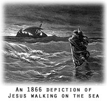 An 1866 depiction of Jesus walking on the sea